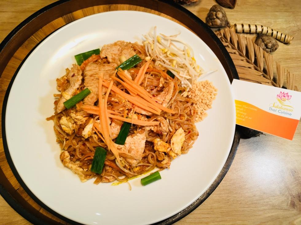 a dish of Pad thai salakanan thai restaurant offenburg