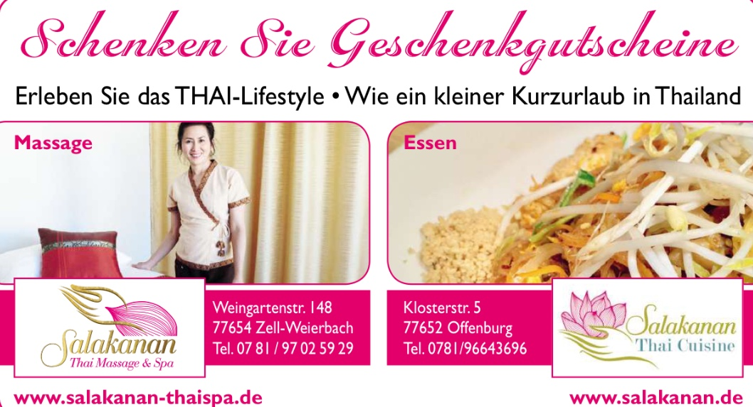 Salakanan THAI Massage Restaurant ad artwork offenburg newspaper