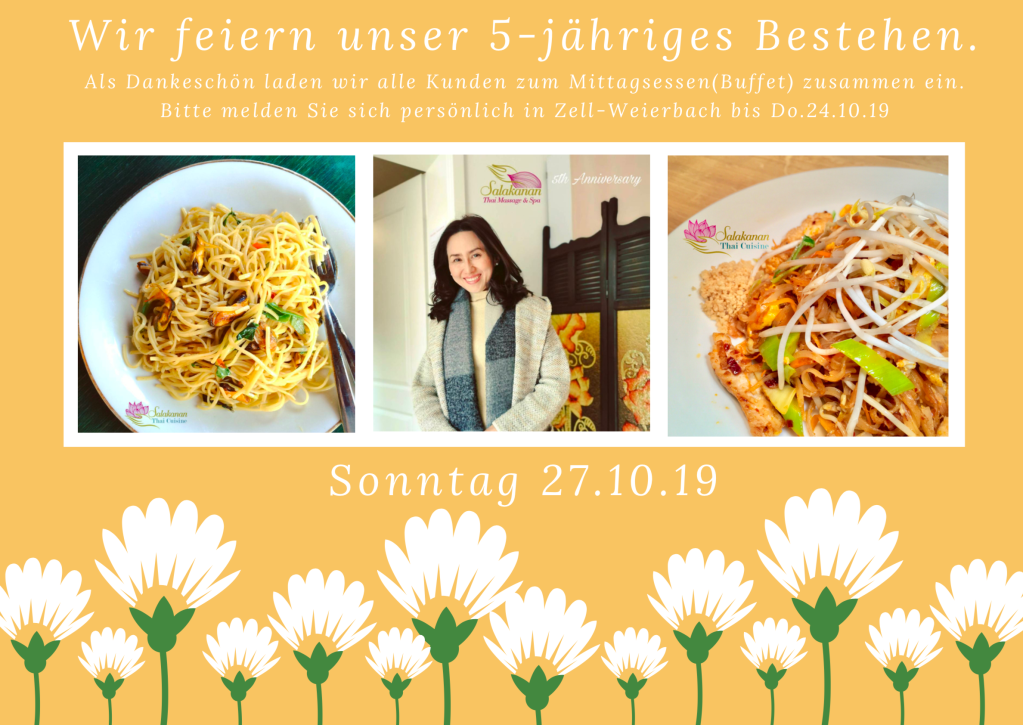 Salakanan Thai Massage Spa Offenburg Zell Weierbach Thai Cuisine Restaurant 5th anniversary lunch buffet payback customers